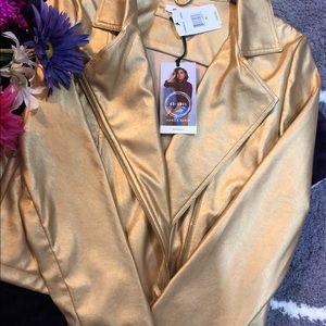 ob.sess Jackets & Coats - Girl gold metallic jacket XL faux leather